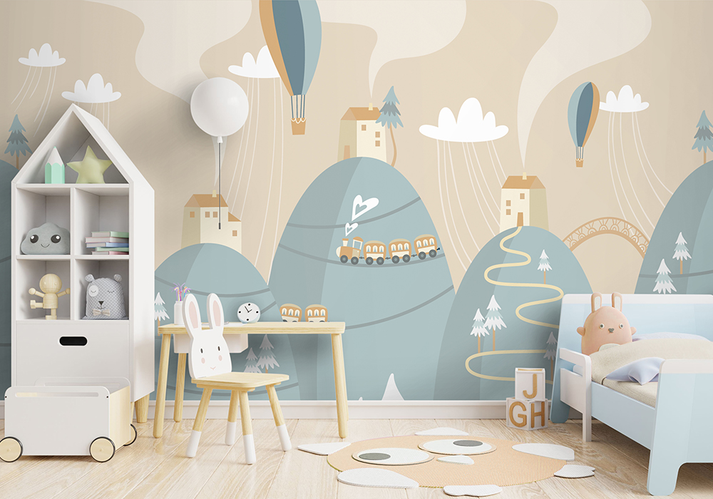 Mockup wall in the children's room on wall white colors backgrou
